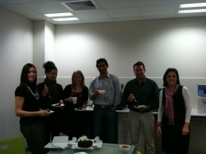 The Painted Dog team taking a break for coffee and cake. Yeah, it rhymes.